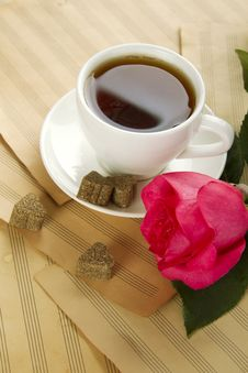 Free A Cup Of Tea And Rose Stock Image - 20290981