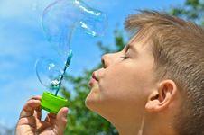 Free A Little Boy Blows Bubbles Royalty Free Stock Photo - 20291245