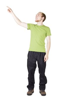 Free Man In Green Shirt Pointing By Finger Royalty Free Stock Photo - 20291455