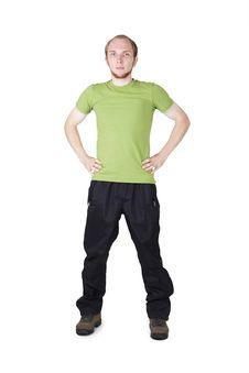 Free Man In Green Shirt Standing Royalty Free Stock Image - 20291456