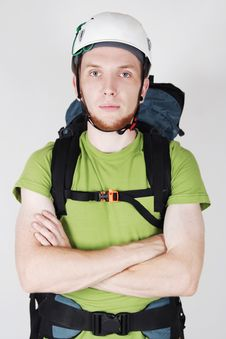 Free Mountain Tourist In Helmet And With Big Backpack Stock Photography - 20291462