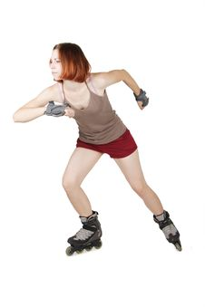 Free Girl On Rollerblades In Start Pose Royalty Free Stock Photo - 20291465