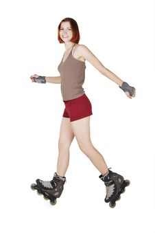 Free Girl On Rollerblades Making Trick Isolated Royalty Free Stock Images - 20291469