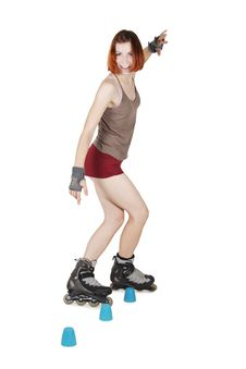 Free Girl On Rollerblades, Artistic Slalom,  Isolated Stock Image - 20291471