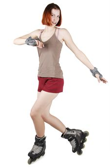 Girl On Rollerblades Isolated Stock Photography