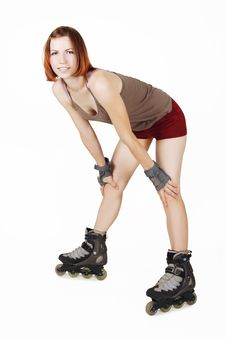 Girl On Rollerblades Isolated Stock Photos