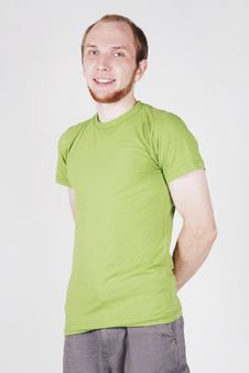 Free Man In Green Shirt Smiling Royalty Free Stock Photo - 20291475