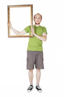 Free Man In Green Shirt Holding  Picture Frame Royalty Free Stock Images - 20291479