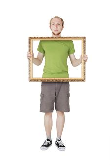 Free Man Holding Decorative Picture Frame Stock Image - 20291481