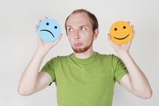Free Man Holding Emotion Smile Symbols Stock Images - 20291484