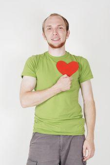 Free Man Holding Valentine Heart Card Royalty Free Stock Photos - 20291488