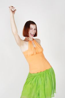 Young Girl In Bright Clothes Stock Image