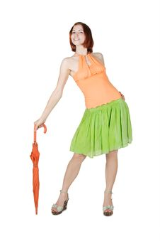 Free Girl In Bright Clothes With Umbrella Stock Photos - 20291493