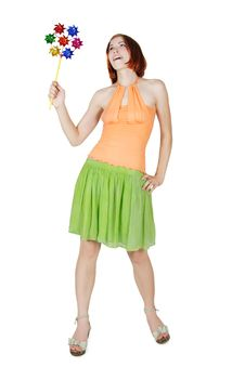 Free Girl In Bright Clothes Holding Pinwheella Royalty Free Stock Image - 20291496