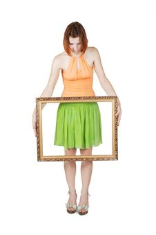 Free Girl In Bright Clothes Holding  Picture Frame Royalty Free Stock Image - 20291506
