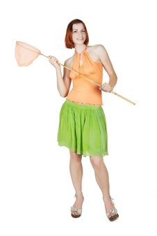 Free Girl In Bright Clothes Holding Butterfly Net Royalty Free Stock Photography - 20291507