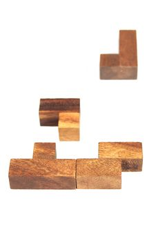 Wooden Tetris Puzzle Isolated Stock Images
