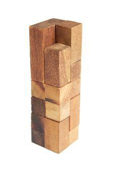 Free Wooden Puzzle Tower Isolated Royalty Free Stock Image - 20291516