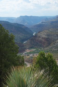 Beautiful Desert Canyon With Running River Stock Photos