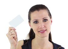 Free Beautiful Woman Holding Blank Card Stock Photo - 20292050
