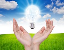 Free Business Hand With Light Bulb. Royalty Free Stock Images - 20292339