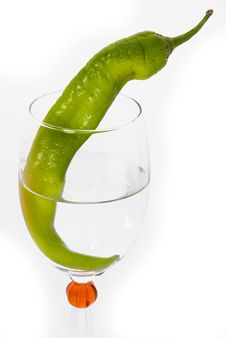 Free Green Chilli  In Wine Glass Stock Photography - 20294282