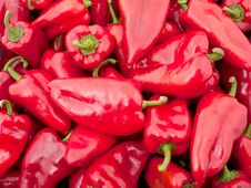 Background Of Many Big Red Peppers Stock Image