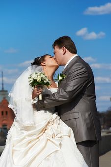 Romantic Kiss Bride And Groom Stock Image
