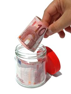 Banknote In Opened Jar Stock Photography