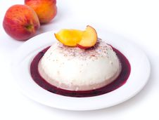 Panna-cotta With Peach Stock Photos