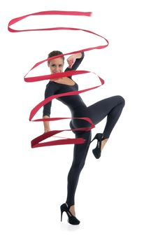 Free Dancing Woman With Red Ribbon Royalty Free Stock Photography - 20295327