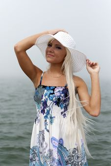 Free Girl In Hat Standing In The Misty Sea Stock Image - 20295581