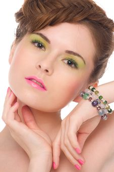 Free Woman With Jewelry From Natural Stones Stock Photography - 20295602