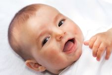 Closeup Portrait Of Cute Smiling Baby Boy Stock Images