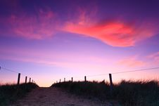 Free Path In The Sand Dunes At Sunset Royalty Free Stock Image - 20296916