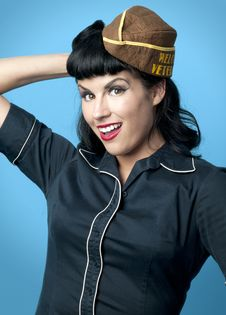 Free Cute Pin Up Model In Military Cap Royalty Free Stock Photos - 20297238