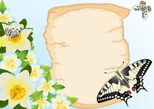 Free Old Papyrus, Flowers And Butterflies Stock Image - 20297361