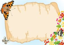 Free Old Papyrus, Butterflies And Flowers Stock Photography - 20297362