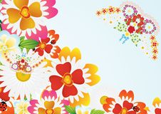 Abstract Butterfly And Flowers Royalty Free Stock Images
