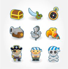 Free Cartoon Pirate Icon Royalty Free Stock Images - 20298489