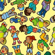 Free Cartoon Hip Hop Boy Dancing  Seamless Pattern Stock Photo - 20298530