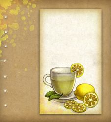 Free Drawing Of Glass Cup Of Tea With Lemon Stock Images - 20299384
