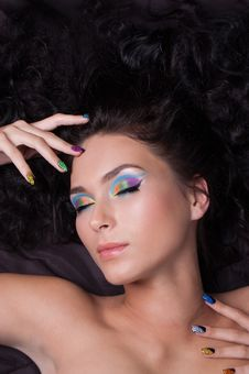 Free Professional Colourful Make-up And Manicure Stock Image - 20299591