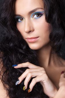Free Professional Colourful Make-up And Manicure Stock Photography - 20299602