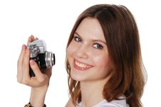 Free Pretty Woman Taking Photo With Vintage Camera Royalty Free Stock Photography - 20299947