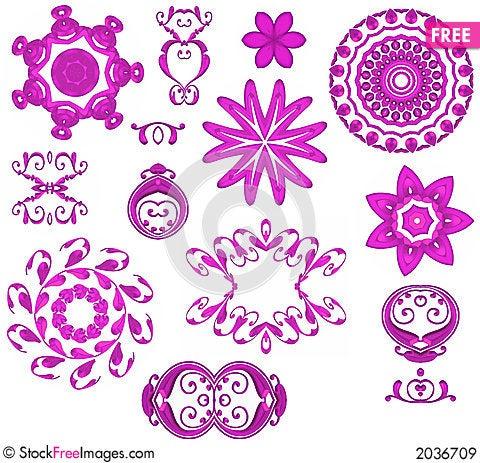 Decorative Pink Web Icons Stock Photo
