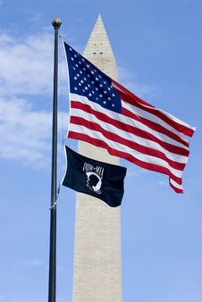 Free American Flag Washington Monument Royalty Free Stock Image - 2030696