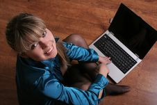 Free Smiling Beautiful Girl On Floor With Laptop Stock Images - 2032584