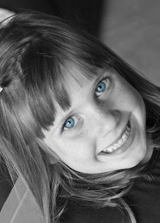 Free Blue Eyed Girl 2 Bw Stock Photography - 2034232