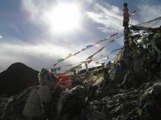 Free Hill Covered With Prayerflags Stock Photo - 2034610